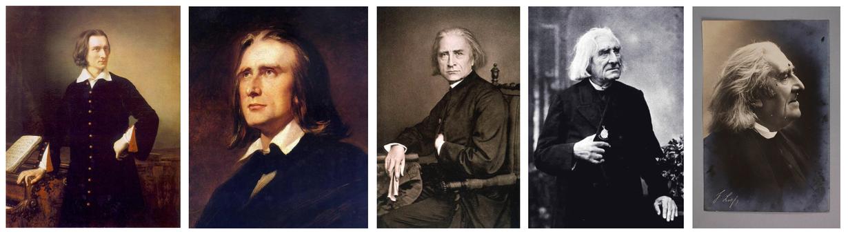 v. l. n. r.: Gemälde Miklós Barabás 1847, Porträt W. v. Kaulbach 1856, Foto Franz Hanfstaengl 1870, Foto Louis Held 1884, Foto Nadar 1886