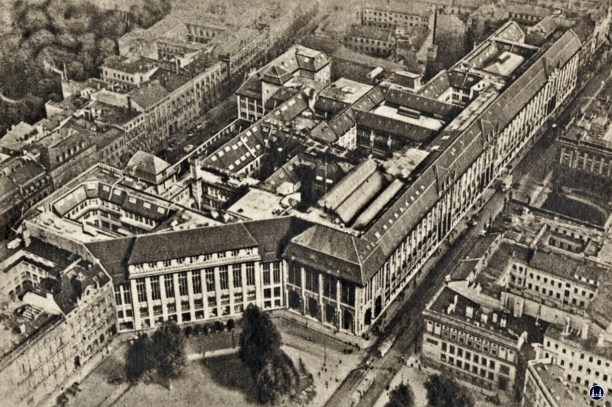 Luftansicht des Warenhaus Wertheim am Leipziger Platz.