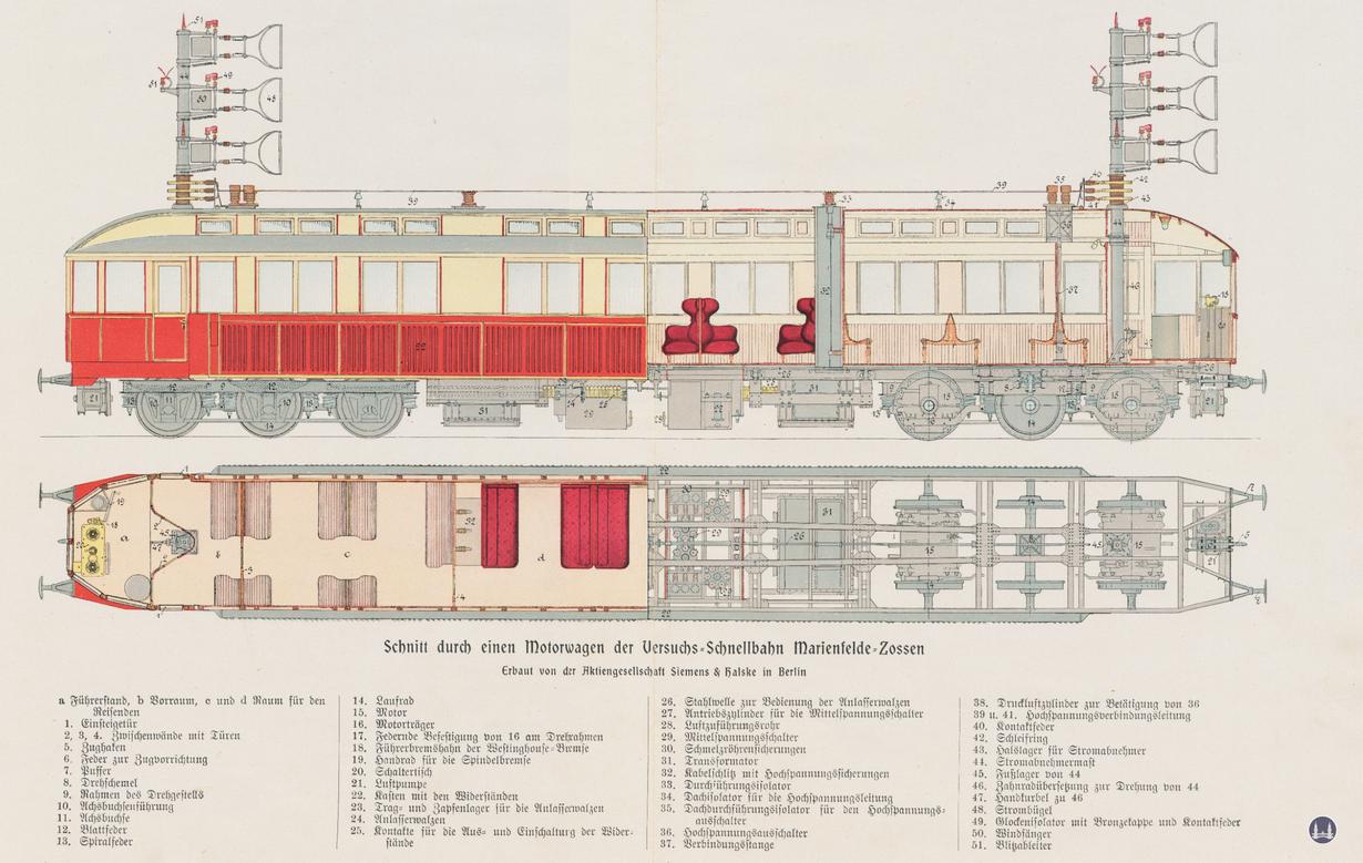 """Die Königliche Militär-Eisenbahn. Querschnittzeichnung des Siemens-Triebwagens """"S""""."""