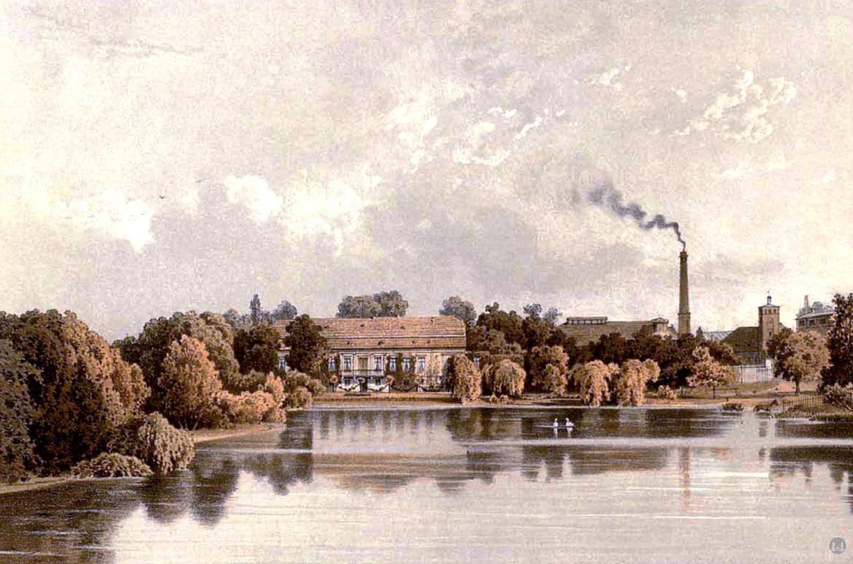 Musikhaus Bading in Berlin - Neukölln, Karl - Marx - Straße. Rittergut und Schloß Britz um 1860