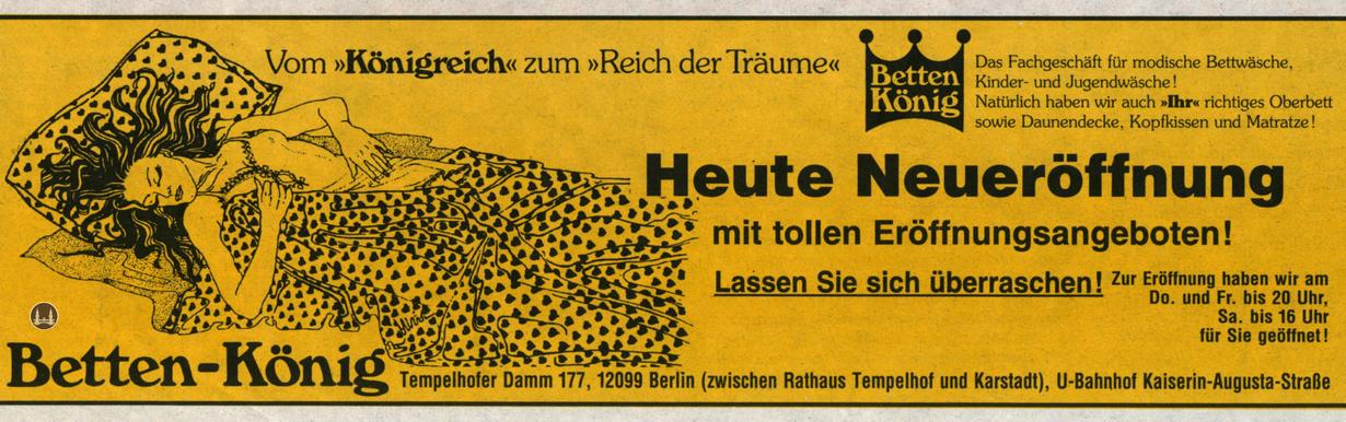 Zeitungsannonce zur Eröffnung der Filiale Tempelhofer Damm.