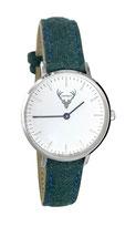 silberne Uhr mit grünem Filzband Tracht