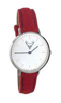 silberne Uhr mit rotem Filzband Tracht