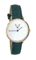 goldene Uhr mit grünem Filzband Tracht
