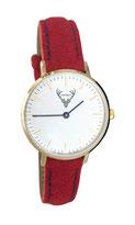 goldene Uhr mit rotem Filzband Tracht