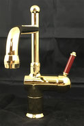 Roulette Lever Mixer with Victor Spout Gold, WELS 4 star rating, 7.5L/min