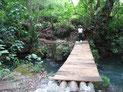 Holzbrücke über den Fluss / puente del río