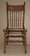 Amerikanischer Jugendstil Stuhl, Hochlehner,Eiche, Schnitzereien, Reedgeflecht , € 320,00