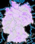 Karte zum Auftreten des Kampfläufers (Philomachus pugnax) in Deutschland während der Zugzeit.