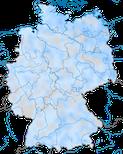 Karte zur Verbreitung des Gänsesägers (Mergus merganser) in Deutschland im Winter.