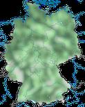Karte zur Verbreitung der Lachmöwe (Chroicocephalus ridibundus) in Deutschland.