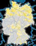 Karte zu den Brutvorkommen der Bekassine (Gallinago gallinago) in Deutschland