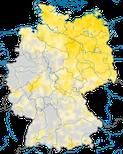 Karte zum Brutvorkommen des Braunkehlchens (Saxicola rubetra)in Deutschland.