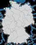 Karte zur Verbreitung der Spießente (Anas acuta) zur Brutzeit in Deutschland.