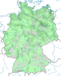 Karte zur Verbreitung der Löffelente (Spatula clypeata) in Deutschland im Jahresverlauf.