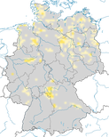 Karte zu den Brutgebieten der Wiesenweihe (Circus pygargus) in Deutschland.