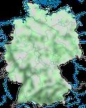 Karte zur Verbreitung der Mittelmeermöwe (Larus michahellis) in Deutschland.