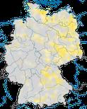 Karte zur Verbreitung der Tafelente (Aythya ferina) in Deutschland zur Brutzeit