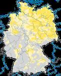 Karte der Brutgebiete der Rohrweihe (Circus aeruginosus) in Deutschland.