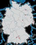 Karte zum Brutvorkommen des Rotfußfalken (Falco vespertinus) in Deutschland seit dem 19. Jahrhundert.