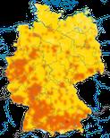 Karte zur Verbreitung des Hausrotschwanzes in Deutschland im Sommer.
