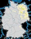 Karte zur Verbreitung des Fischadlers (Pandion haliaetu) in Deutschland während der Brutzeit.