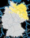 Karte zum Brutvorkommen des Grauen Kranichs (Grus grus) in Deutschland.