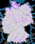 Karte zum Vorkommen der Zwergmöwe (Hydrocoloeus minutus) in Deutschland währen der Zugzeit.