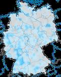 Karte zur Verbreitung des Hausrotschwanzes in Deutschland im Winter.
