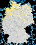 Karte zur Verbreitung der Löffelente (Spatula clypeata) in Deutschland zur Brutzeit.