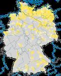 Karte zur Verbreitung der Schnatterente (Mareca strepera) in Deutschland zur Brutzeit