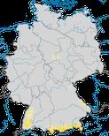 Karte zur Verbreitung der Ringdrossel in Deutschland während der Zugzeit.