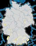 Karte zum Brutvorkommen der Mittelmeermöwe (Larus michahellis) in Deutschland.