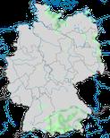 Karte zum Brutvorkommen des Gänsesägers (Mergus merganser) in Deutschland.