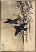 Corbeaux - estampe de Kōno Bairei