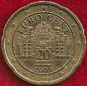 MONEDA AUSTRIA - KM 3086 - 20 CÉNTIMOS DE EURO - 2.003 - ORO NÓRDICO (MBC+/VF+) 0,75€.