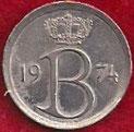 MONEDA BÉLGICA - KM 153.1 - 25 CÉNTIMOS (BELGIQUE) 1.974 - COBRE - NíQUEL (MBC+/VF+) 0,60€.