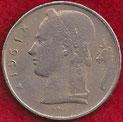 MONEDA BÉLGICA - KM 134.1 - 5 FRANCOS BELGAS (BELGIQUE) 1.961 - COBRE - NíQUEL (MBC-/VF-) 0,80€.
