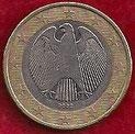 MONEDA ALEMANIA - KM 213 - 1 EURO - 2.002 (G) CUPRONÍQUEL - LATÓN - BIMETÁLICA (BC-/VG-) 1,75€.