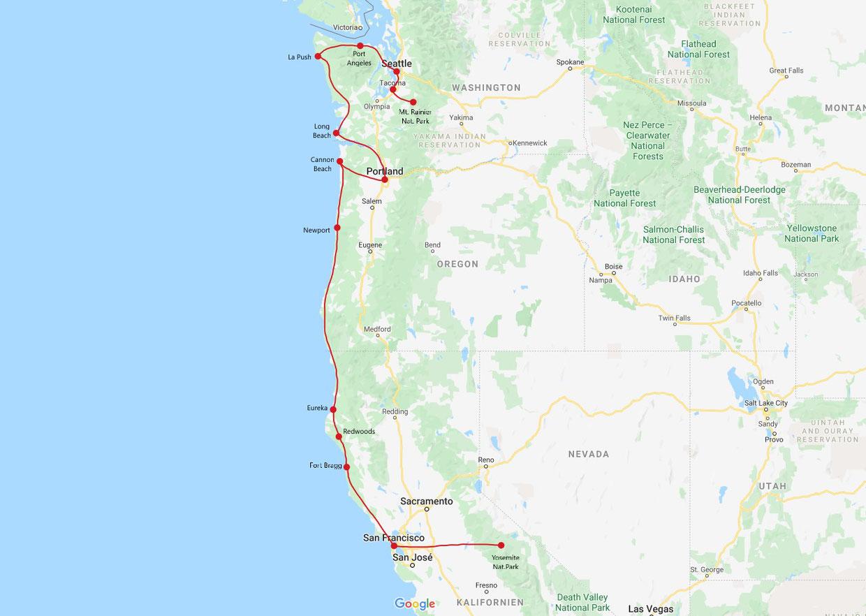 Westküste USA 2 Wochen Route - Westküste USA Route