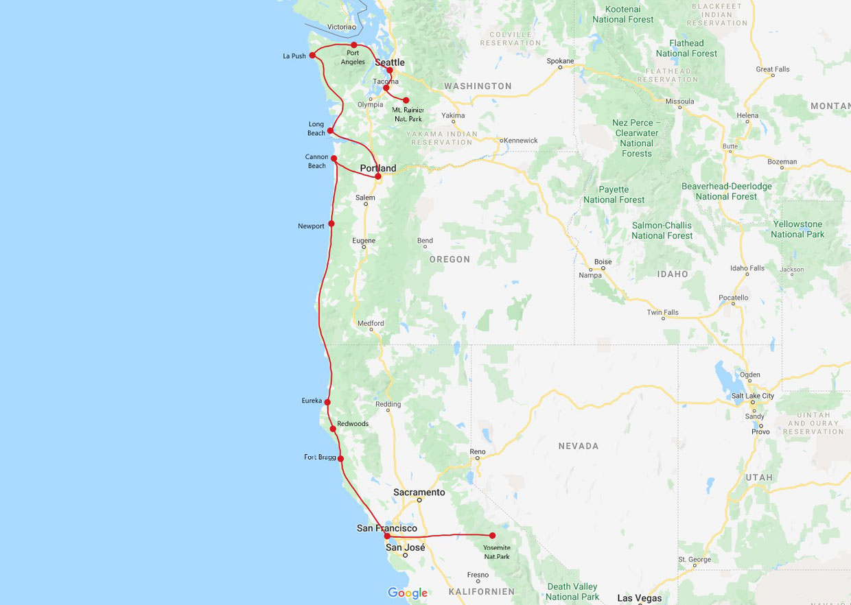 Roadtrip Westküste USA 2 Wochen Route