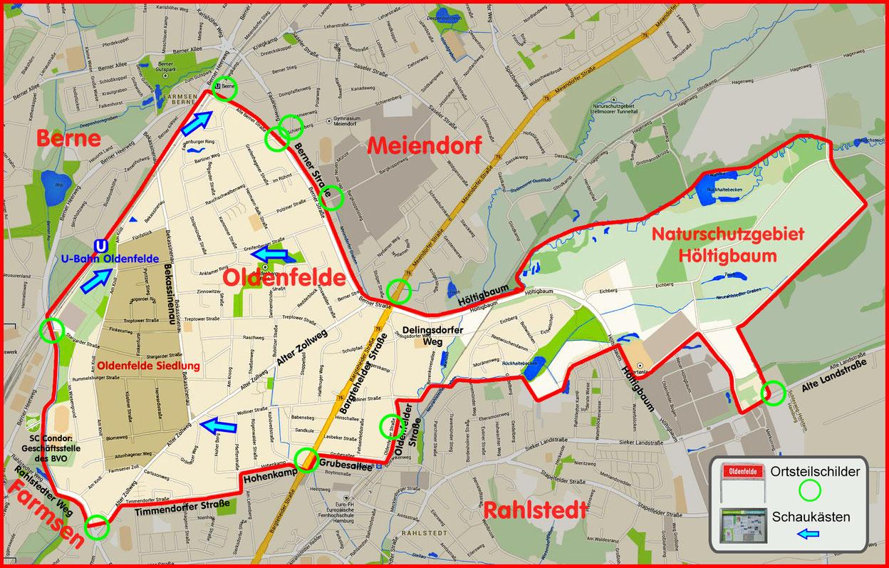 Der Ortsteil Oldenfelde 1925 (Oldenfelde Siedlung - dunkel eingefärbt) und heute
