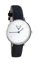 silberne Uhr mit schwarzem Filzband Tracht