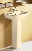 Lara Wall Basin & Pedestal - Ivory 510x405x185mm