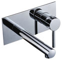Pin lever bath mixer with wall plate and spout