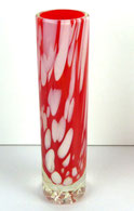 Murano, Überfangglas Stangenvase 60er Jahre Pop-Art, Luftblasen, Rot, € 85,00