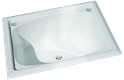 45L White Polymer Inset Tub with two by-pass holes
