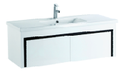 1200mm PVC Wall Hung Vanity with Waterproof Cabinet & Soft closing drawers - Black & White