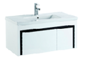 900mm PVC Wall Hung Vanity with Waterproof Cabinet & Soft closing drawers - Black & White