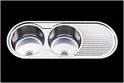 2 round bowls & 1 drainer sink 1270x485x200 Ex-display, small dent $150.00
